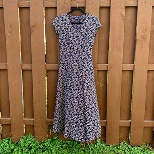 GAP Vintage Floral Button Front Maxi Dress